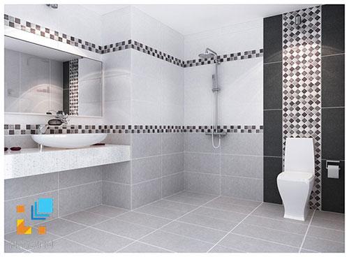 Phòng tắm cao trên 2m nên ốp 2 tần viền
