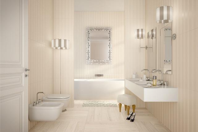 Màu sắc nhẹ nhàng cho phòng tắm sang trọng