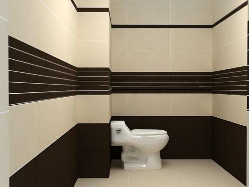 Nhà vệ sinh ấn tượng khi kết hợp 2 màu sáng-tối