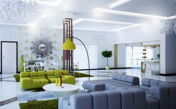 Phòng khách thiết kế theo phong cách đương đại