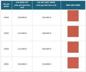 Bảng giá gạch đỏ lát sân Viglacera tham khảo