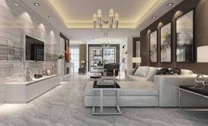 Xu hướng phối màu gạch ốp tường phòng khách 2020