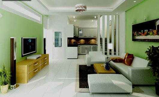 Phối màu gạch ốp tường phòng khách 2