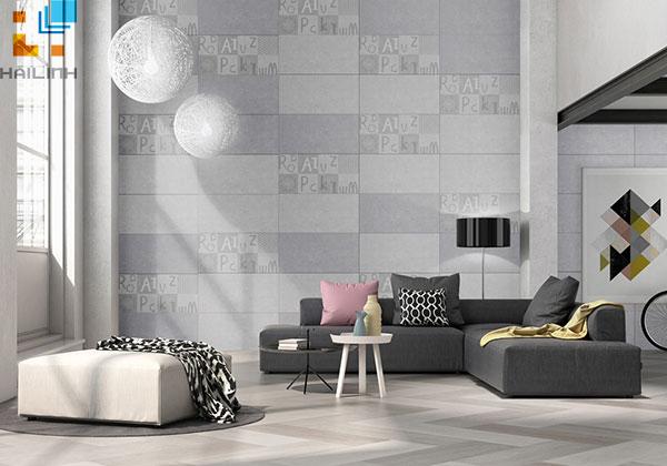 Gạch ốp tường trang trí phòng khách đâm chất gạch đồng tâm