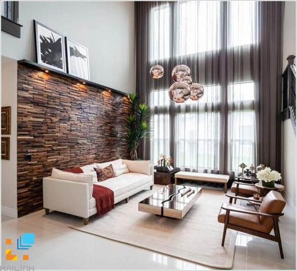 Gạch ốp tường trang trí phòng khách với họa tiết xếp chồng
