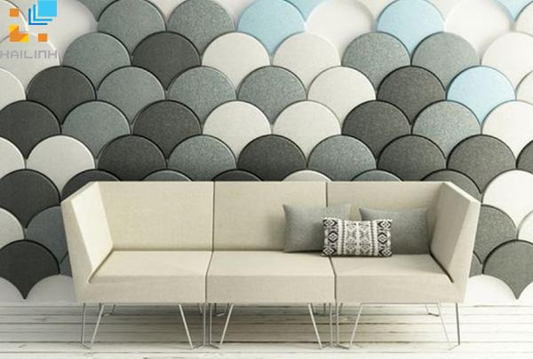 Mẫu gạch ốp tường trang trí phòng khách với tạo hình vây cá