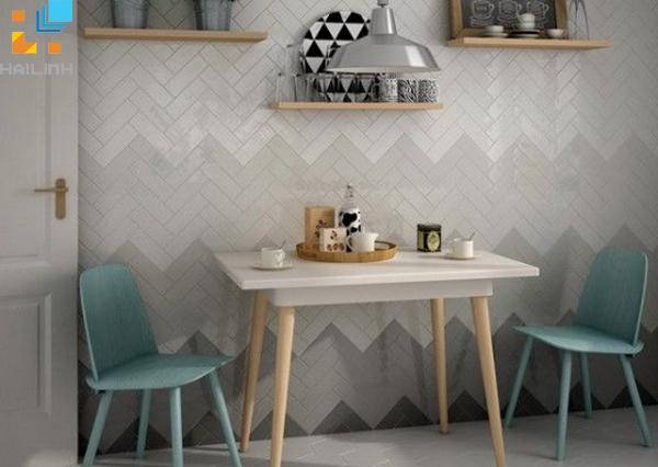 Gạch ốp tường trang trí phòng khách với gam màu mới mẻ
