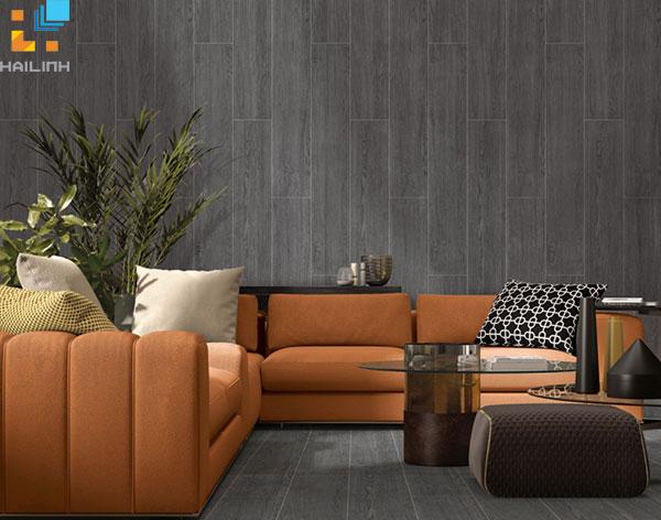 Gạch ốp tường trang trí phòng khách với vân gỗ sang trọng