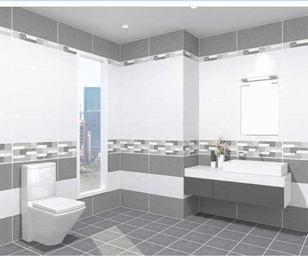 Gạch UM3601 màu trắng xám ốp tường nhà tắm.