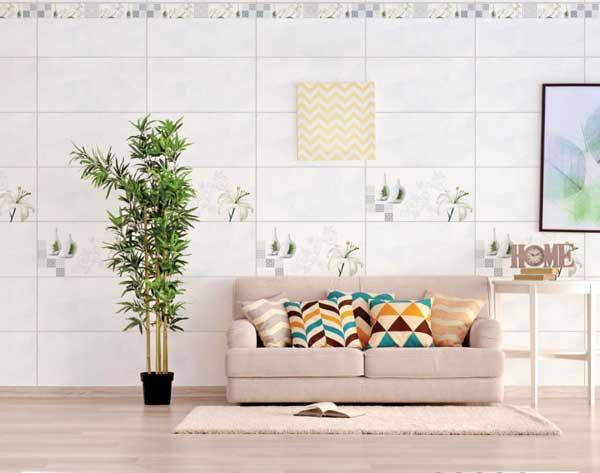 Phòng khách thoáng đãng hơn khi sử dụng gạch ốp tường 30×60 màu trắng Prime 09952